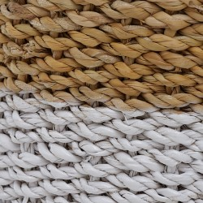 Osłonki na doniczki z trawy morskiej białe SEAGRASS, zestaw 3szt