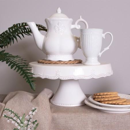 Patera ceramiczna na tort do ciasta biała