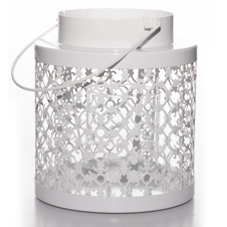 Lampion metalowy biały PORTAVELA BAROCCO Arte Regal 47285