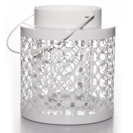 Lampion metalowy biały PORTAVELA BAROCCO