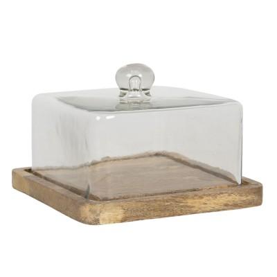 Patera z pokrywą drewniana szklana