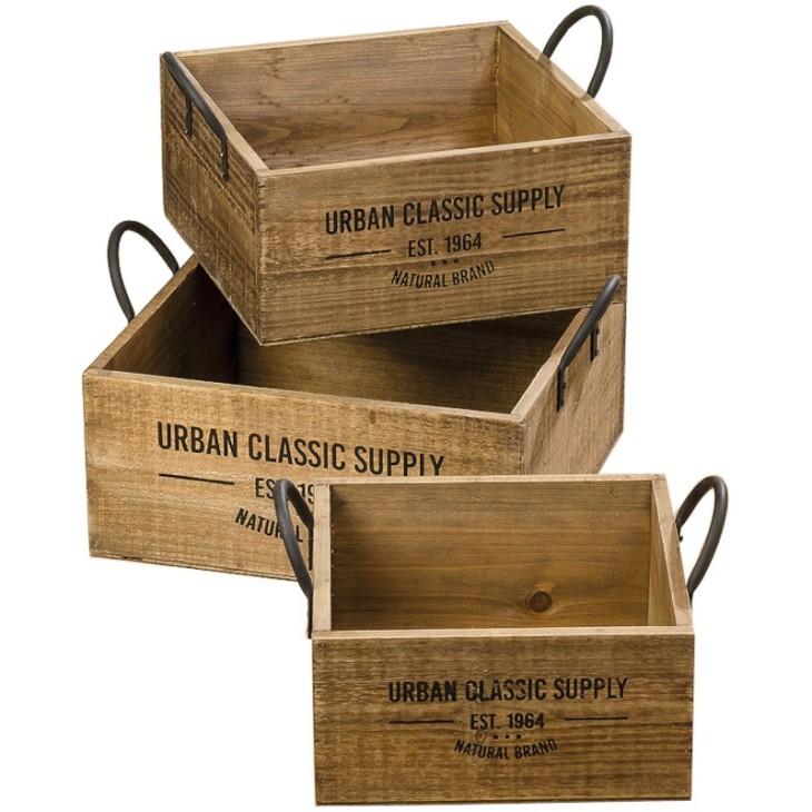 Skrzynki ozdobne drewniane SUPPLY BOX- zestaw 3 sztuki Boltze 1009548