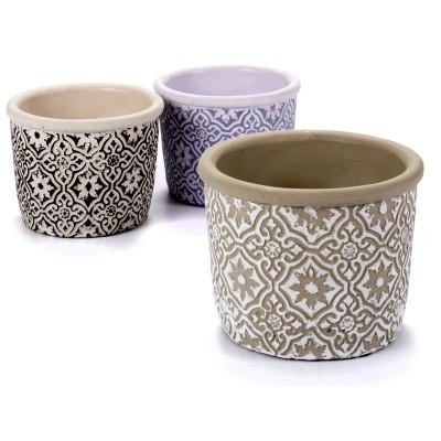 Doniczka ceramiczna MALAGA kremowo- czarna