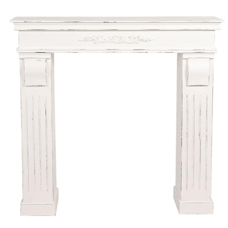 Portal kominkowy biały drewniany, obudowa kominka Clayre & Eef 5H0381W