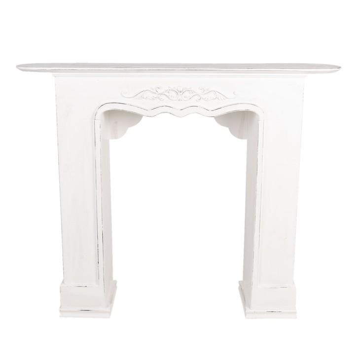 Portal kominkowy RUSTIC biały drewniany, obudowa kominka Clayre & Eef 5H0380W