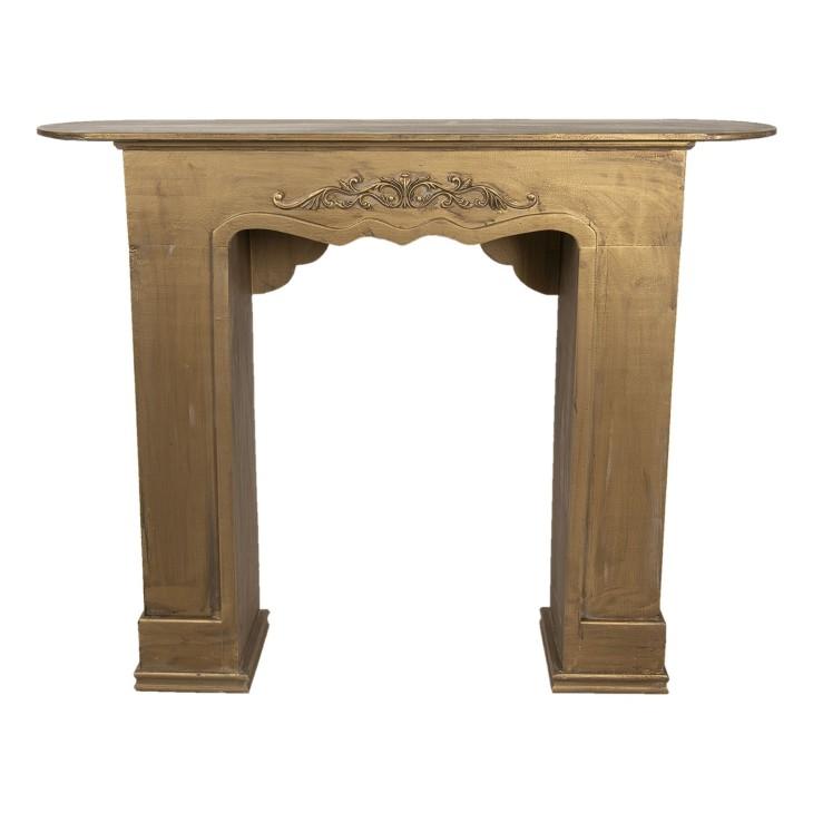 Portal kominkowy RUSTIC złoty drewniany, obudowa kominka Clayre & Eef 5H0380GO