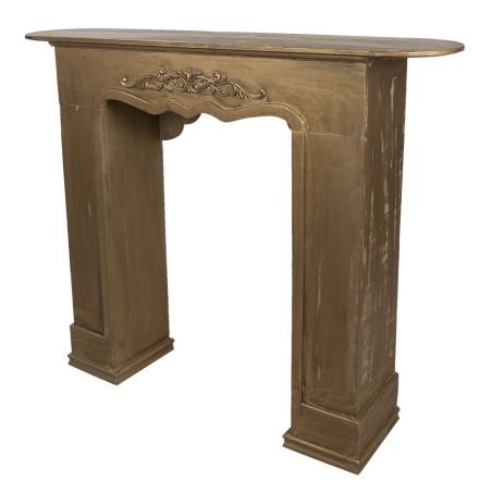 Portal kominkowy RUSTIC złoty drewniany, obudowa kominka