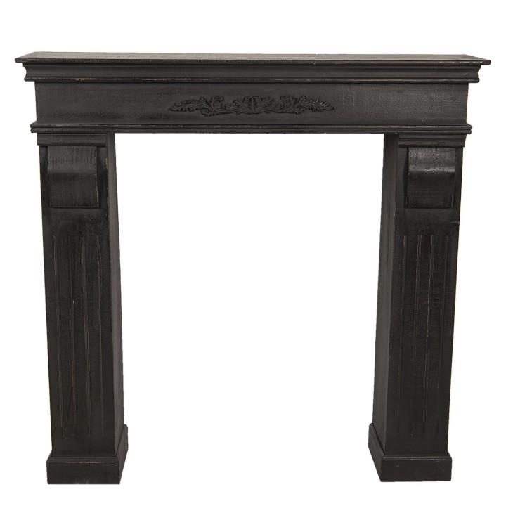 Portal kominkowy czarny drewniany, obudowa kominka Clayre & Eef 5H0381Z