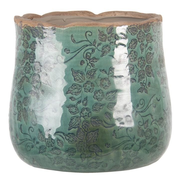 Doniczka ceramiczna okrągła turkusowa L PIZA Clayre & Eef 6CE1252L