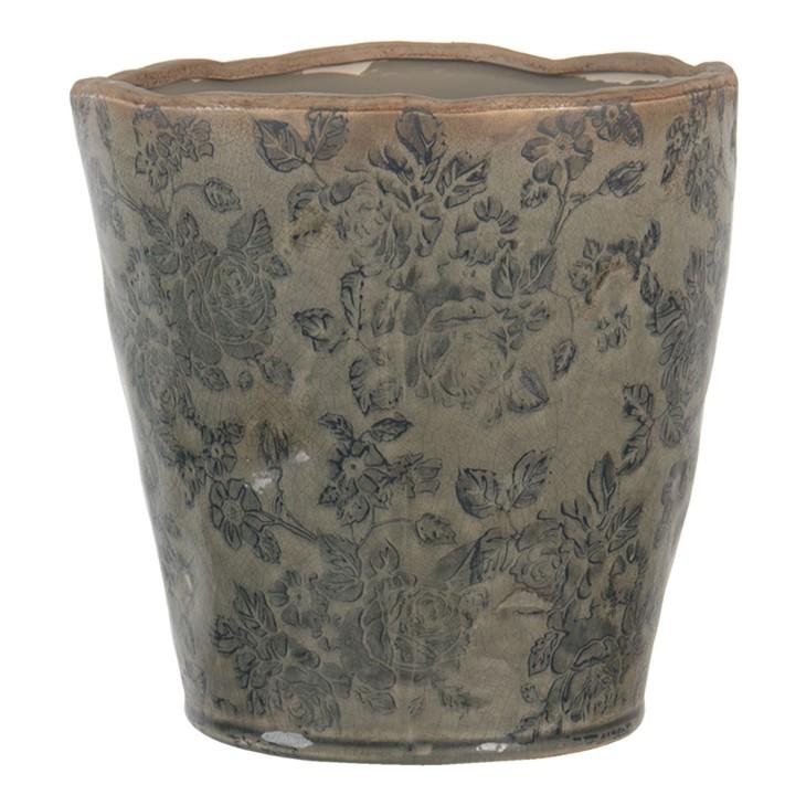 Doniczka ceramiczna okrągła butelkowo zielona L LIVORNO Clayre & Eef 6CE1256L