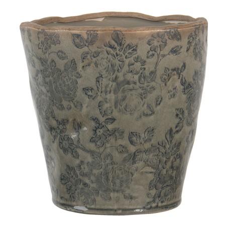 Doniczka ceramiczna okrągła butelkowo zielona L LIVORNO
