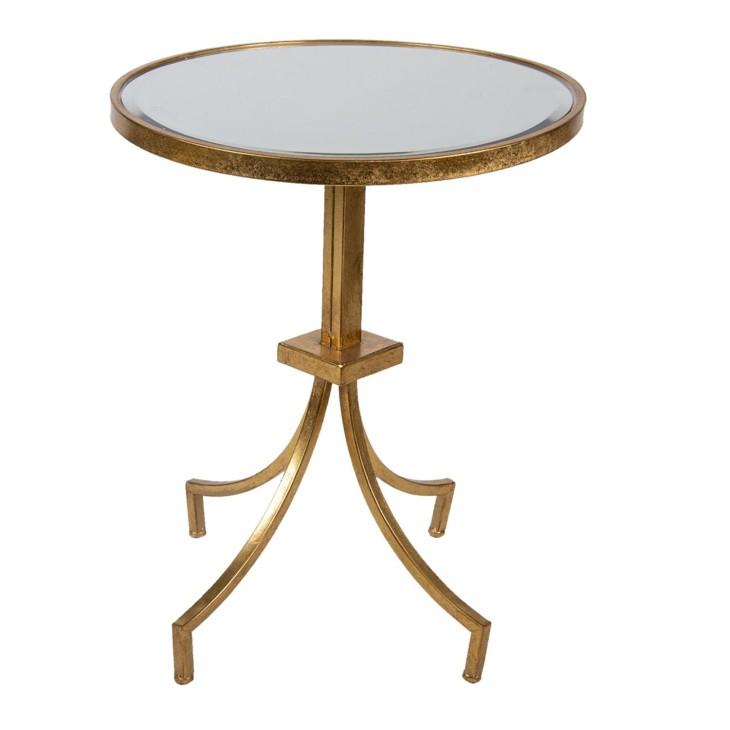 Stolik kawowy złoty okrągły metalowy szklany Clayre & Eef 5Y0910