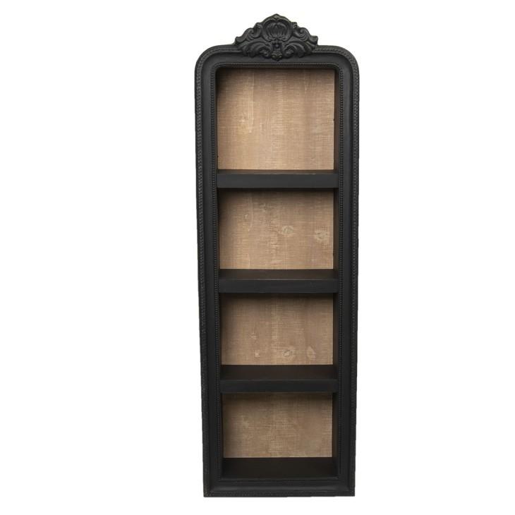 Półka drewniana wisząca czarna rzeźbiona Clayre & Eef 5H0436