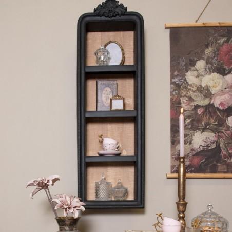 Półka drewniana wisząca czarna rzeźbiona