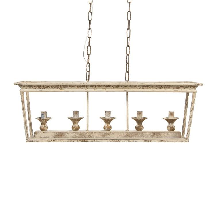 Lampa wisząca żyrandol PROVANCE II kremowy postarzany Clayre & Eef 5LMP336
