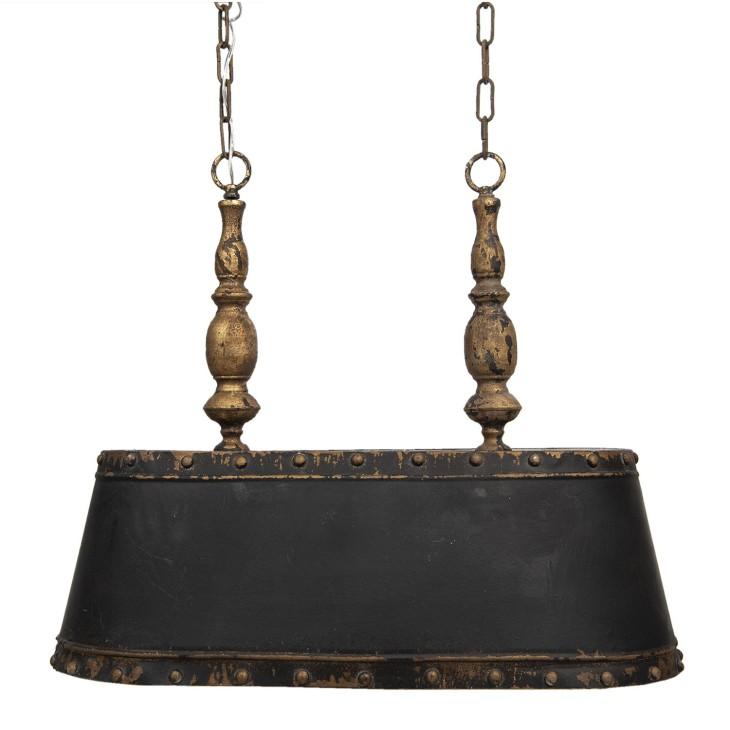Lampa wisząca żyrandol czarno-złoty postarzany Clayre & Eef 5LMP309