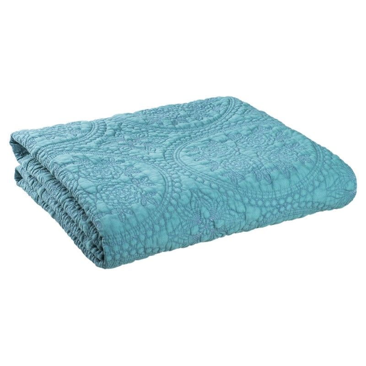 PLED Narzuta na łóżko STONEWASHED pled turkusowy 180 x 260 Clayre & Eef Q181.015GR