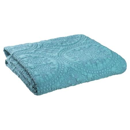 PLED Narzuta na łóżko STONEWASHED pled turkusowy 180 x 260