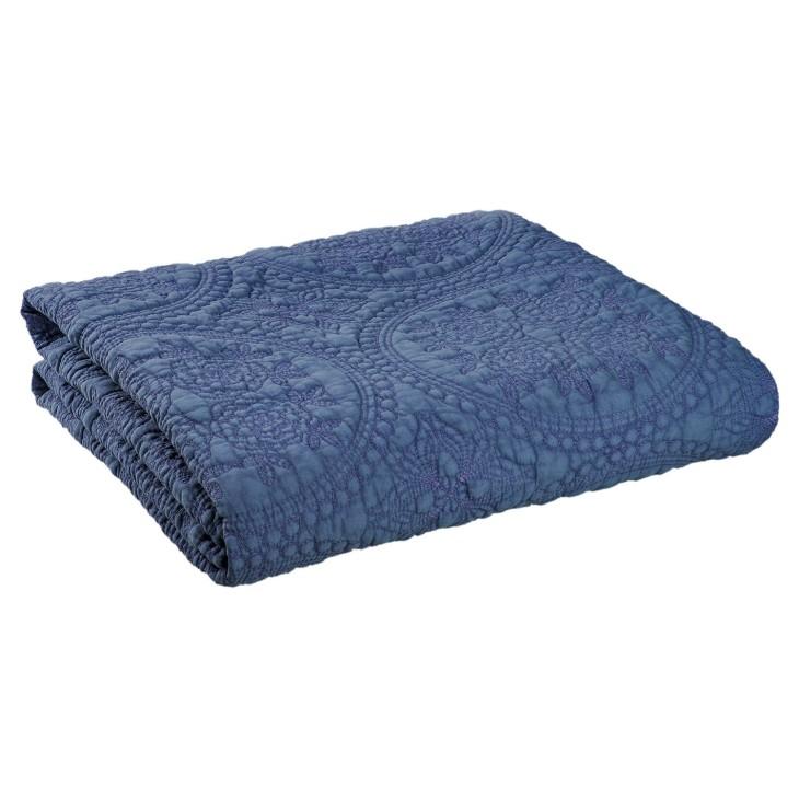 PLED Narzuta na łóżko STONEWASHED pled niebieski 180 x 260 Clayre & Eef Q181.015BL