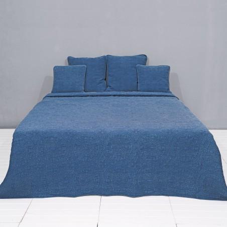 PLED Narzuta na łóżko STONEWASHED pled niebieski 180 x 260