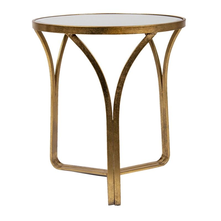 Stolik okrągły złoty metalowy ze szklanym blatem Clayre & Eef 5Y0906