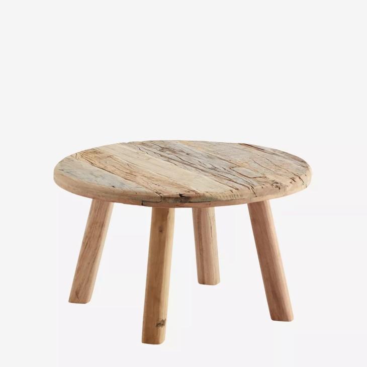 Stolik drewniany okrągły postarzany Madam Stoltz MF19