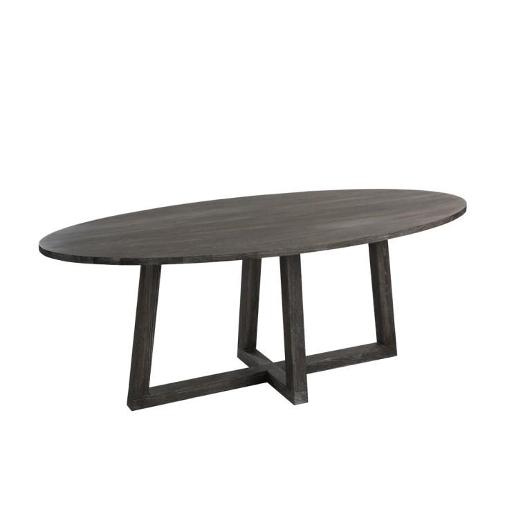 Stół drewniany owalny DARK BROWN J-LINE 80006
