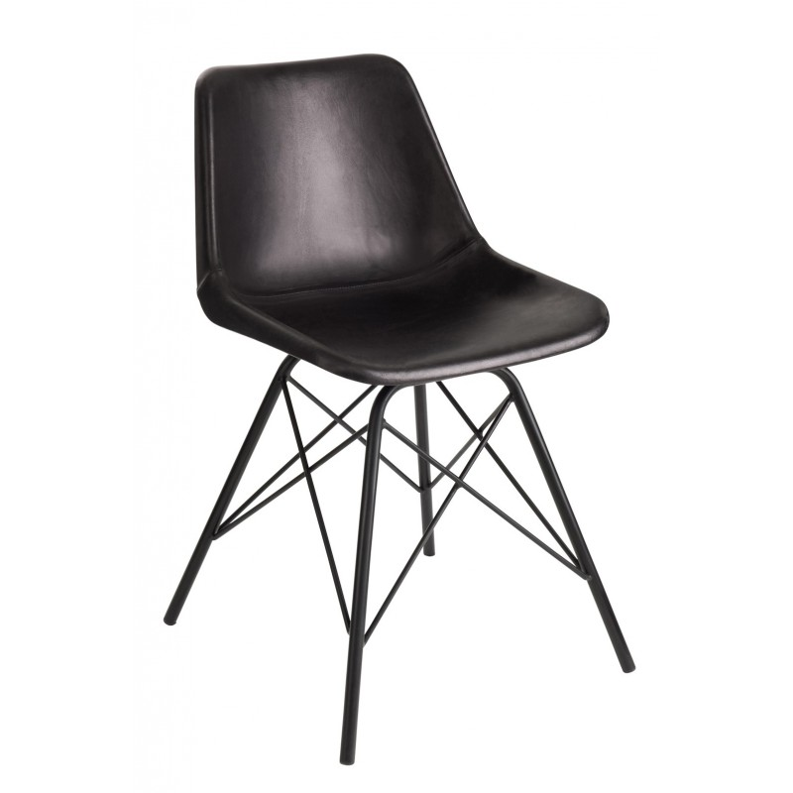 Krzesło skórzane LOFT czarne J-LINE 80392
