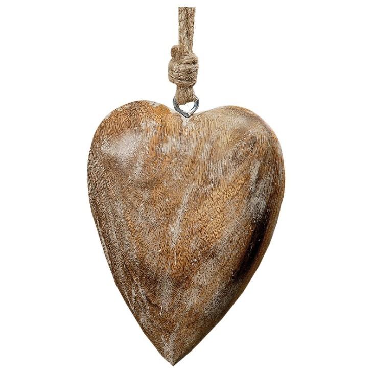 Serce z drewna mango - Zawieszka dekoracyjna 10cm Boltze 1153000