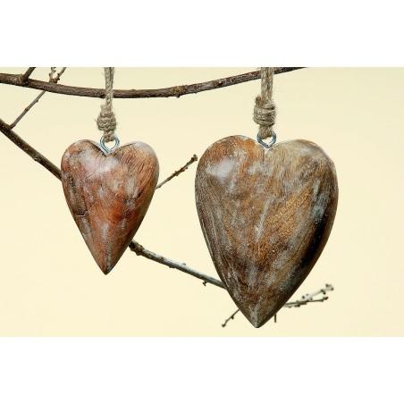 Serce z drewna mango - Zawieszka dekoracyjna 10cm