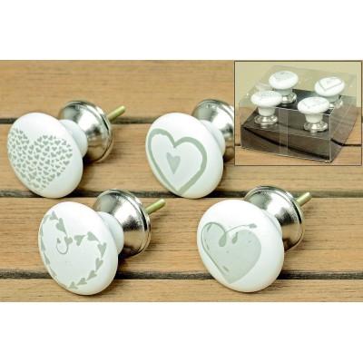 Gałki ceramiczne do mebli HEARTS zestaw 4szt