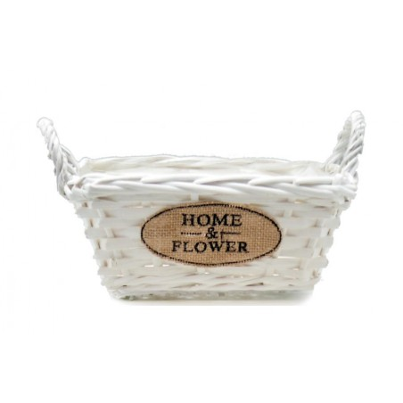 Doniczka wiklinowa biała kosze HOME & FLOWER 28x22x15cm