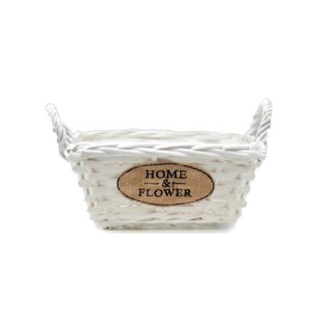Doniczka wiklinowa biała kosze HOME & FLOWER 25x18x13cm