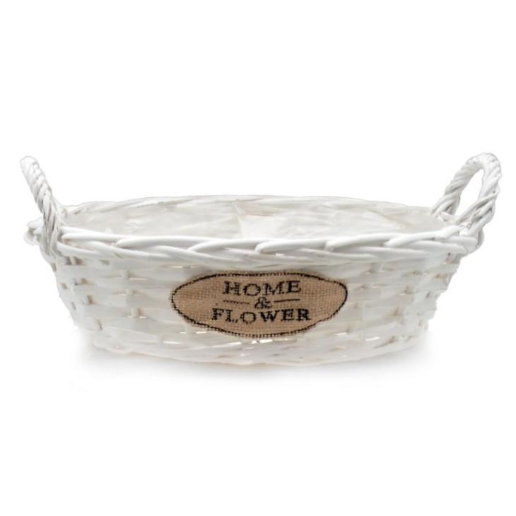 Doniczka wiklinowa biała owalna HOME & FLOWER 31x25x17cm Arte Regal 38635.1