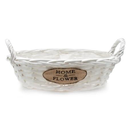 Doniczka wiklinowa biała owalna HOME & FLOWER 31x25x17cm