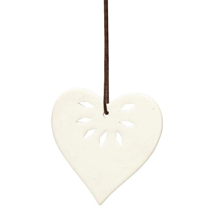 Ozdoba świąteczna SERCE ceramiczne 8 cm Hubsch 258021.1
