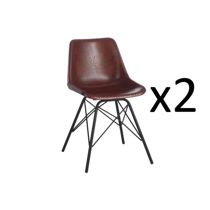 2 krzesła skórzane brązowe GANDAWA w super cenie! J-LINE 80391_2
