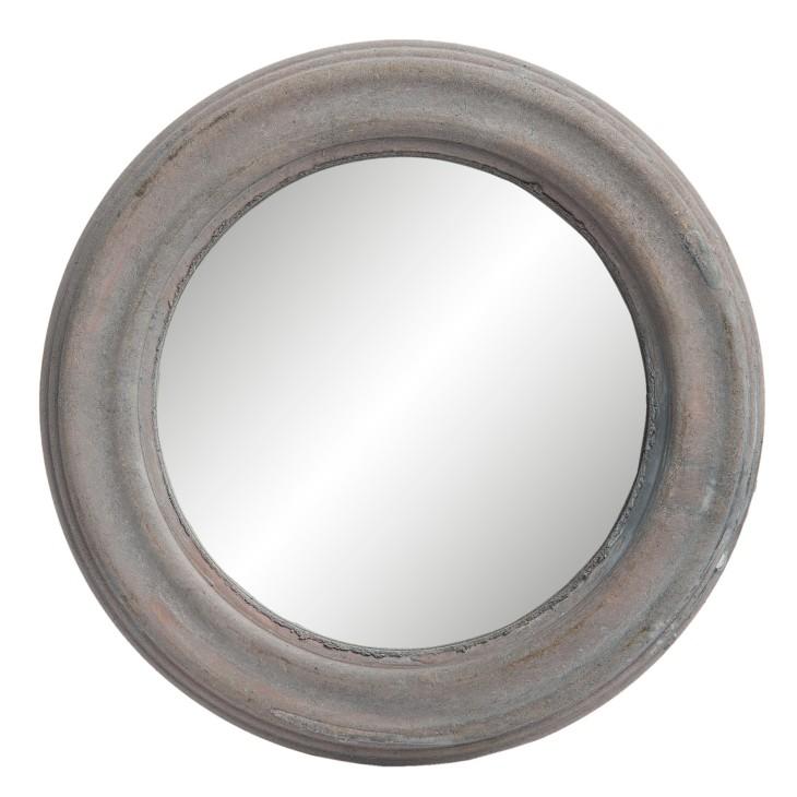 Lustro na ścianę małe okrągłe RUSTIC drewniane 22.5cm Clayre & Eef 62S121