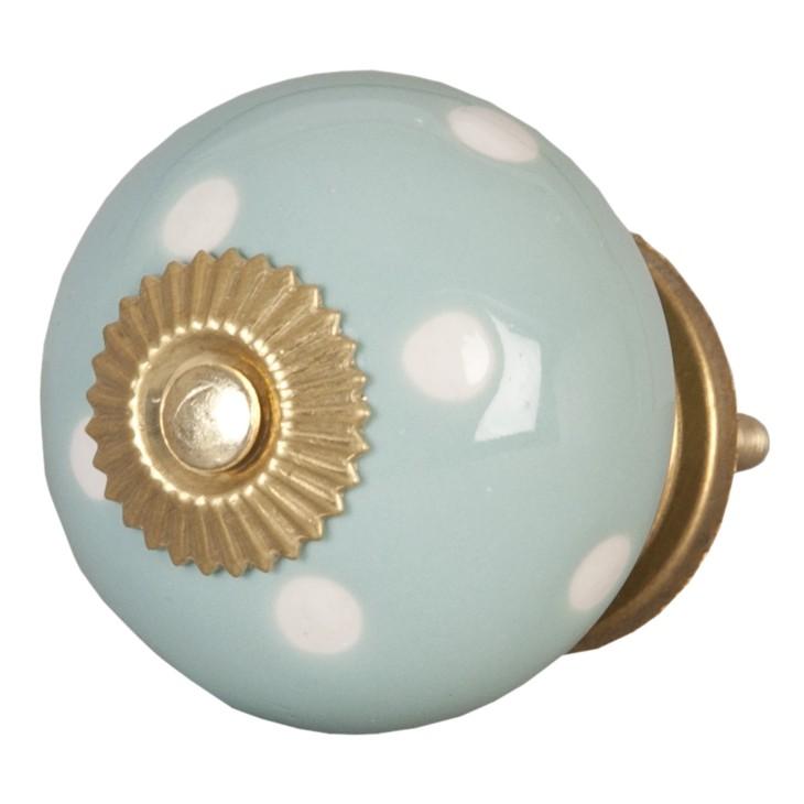 Gałka ceramiczna błękitna w kropki Clayre & Eef 62324