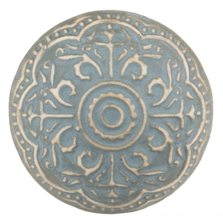 Gałka do mebli ceramiczna błękitno - beżowa 2 Clayre & Eef 63876