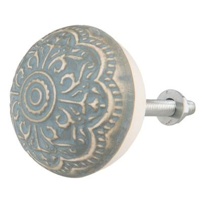 Gałka do mebli ceramiczna błękitno - beżowa 2