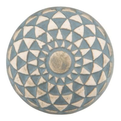 Gałka do mebli ceramiczna błękitno - beżowa 3
