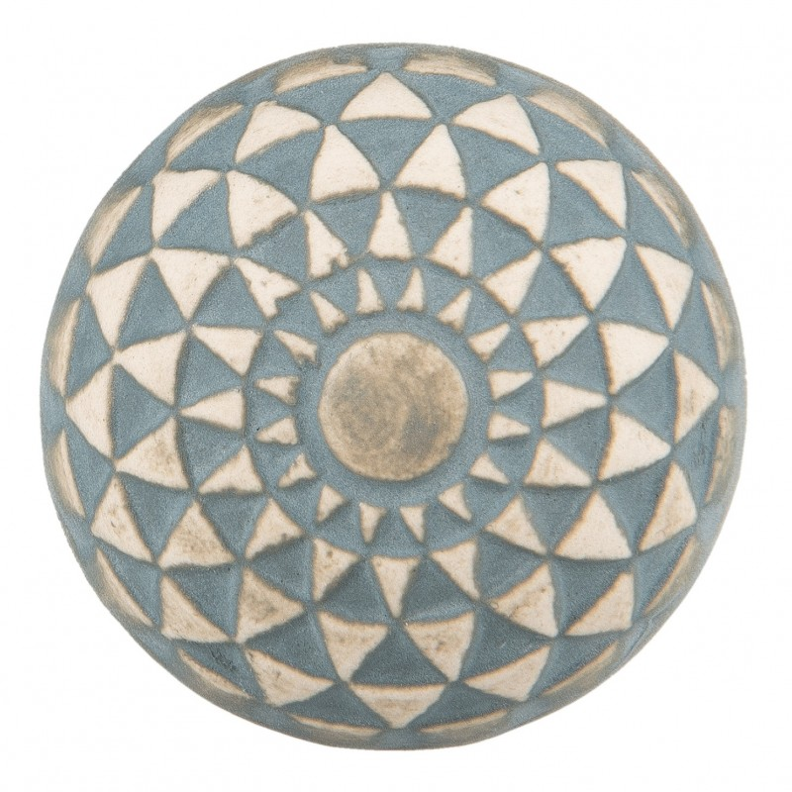 Gałka do mebli ceramiczna błękitno - beżowa 3 Clayre & Eef 63875