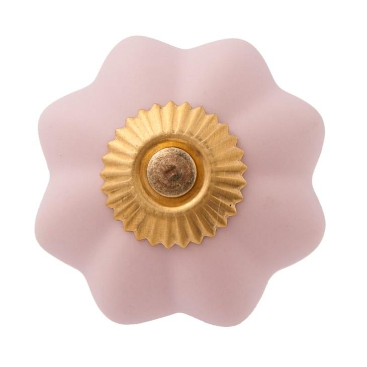 Różowa gałka do mebli PINK FLOWER ceramiczna Clayre & Eef 63803
