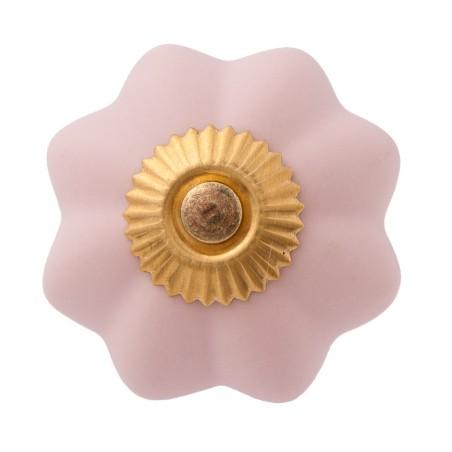 Różowa gałka do mebli PINK FLOWER ceramiczna