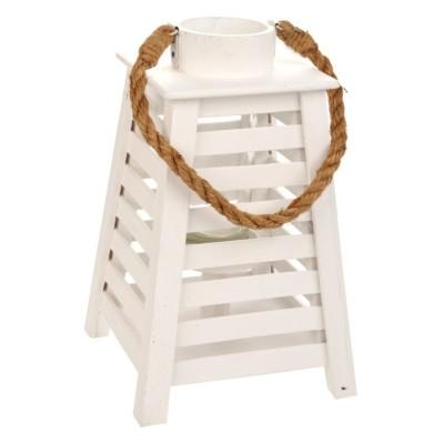 Lampion drewniany biały CONIC