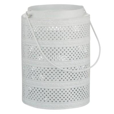 Lampion metalowy biały GLITTER