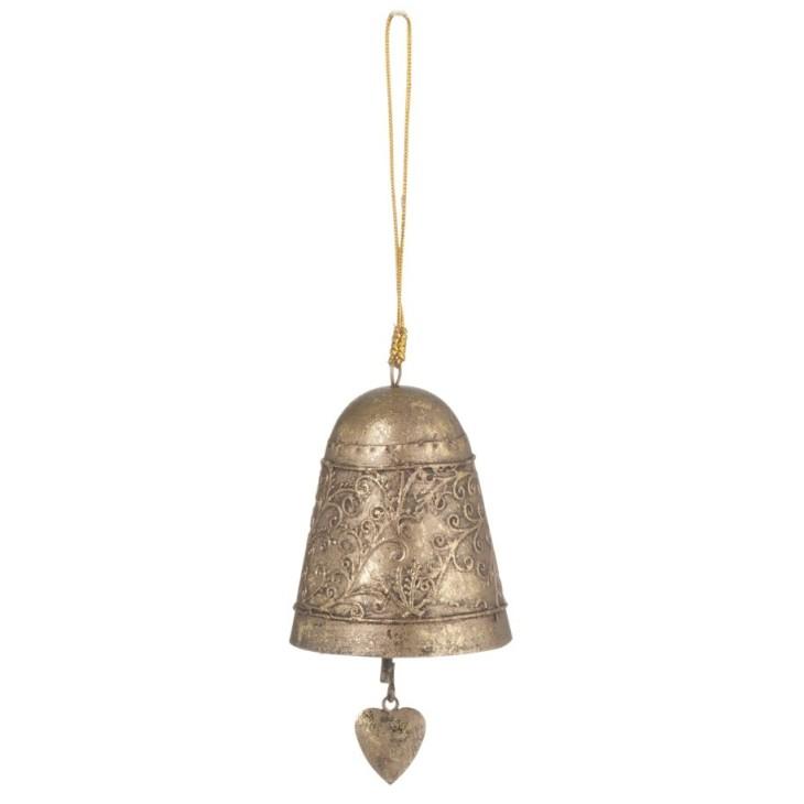 Dekoracja świąteczna dzwonek BELL metalowy antyczne złoto J-LINE 67138