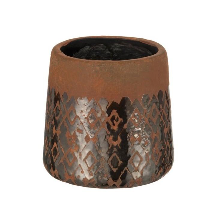 Doniczka ceramiczna brązowa MOSAIC J-LINE 75036