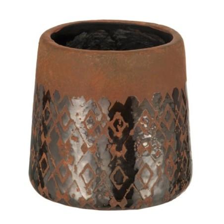 Doniczka ceramiczna brązowa MOSAIC